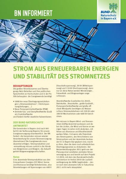 """BN informiert """"Strom aus erneuerbaren Energien"""