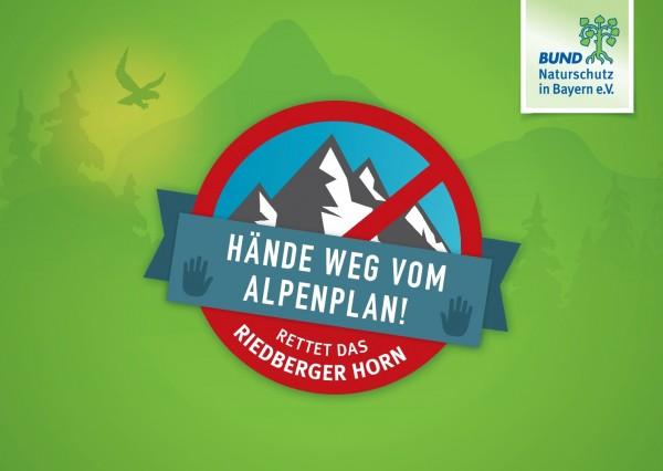 """Aktionspostkarte """"Hände weg vom Alpenplan!"""